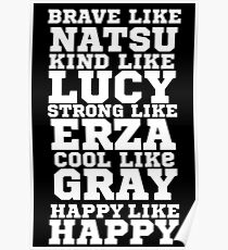 Fairy Tail Logo Brave Like Natsu Dragneel Erza Scarlet Lucy Heartfilla Gray Fullbuster Anime Cosplay T Shirt Poster