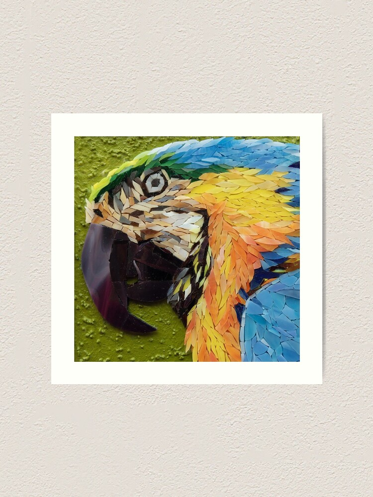 Alternate view of Mackey, the yelow and blue macaw, mosaic Art Print