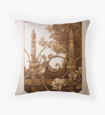 'Iron Fence with Sparrows' Pyrography on hoop pine ply Throw Pillow