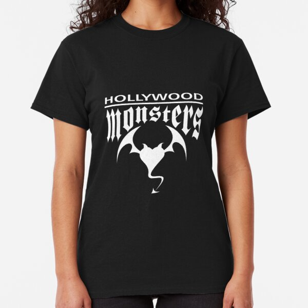 Hollywood Monsters Text Bat Logo - WHITE PRINT Classic T-Shirt