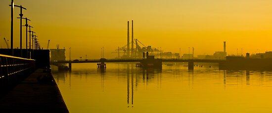 Dublin's Poolbeg Towers around Sunrise by Presence