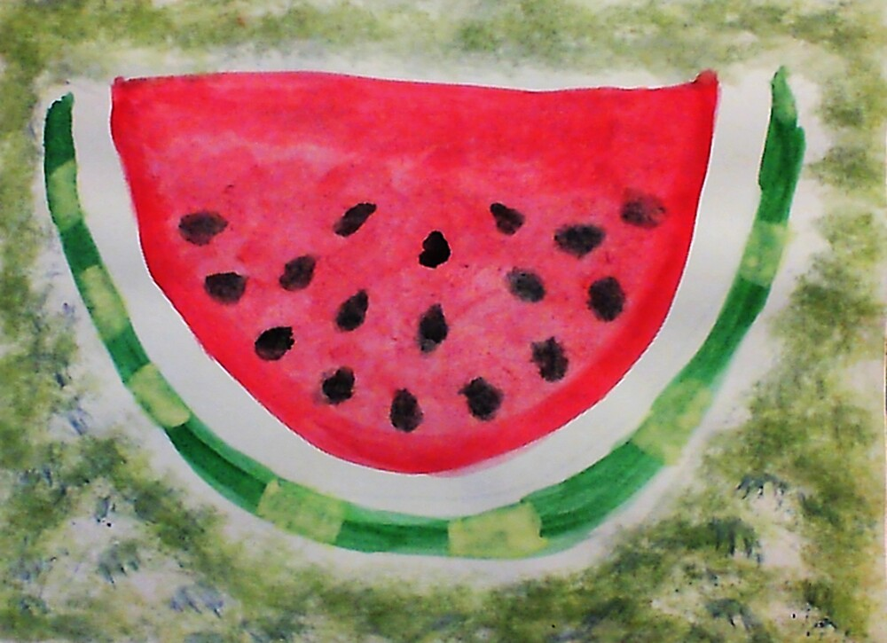 A slice of watermelon, watercolor by Anna  Lewis, blind artist