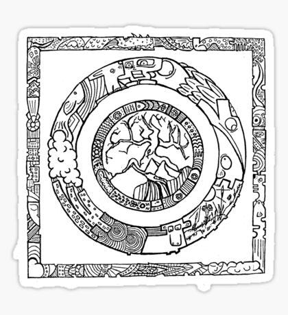 Wheel and Square Design Sticker
