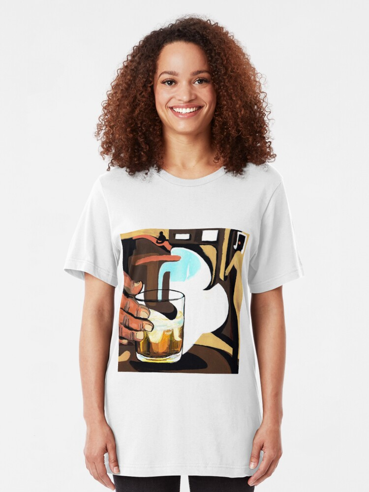 Alternate view of Beer glass illustration Slim Fit T-Shirt