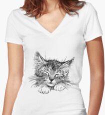 Cat animal Women's Fitted V-Neck T-Shirt