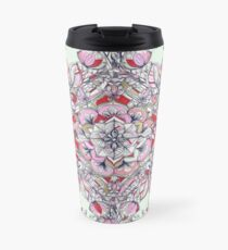 Floral Diamond Doodle in Red and Pink Travel Mug