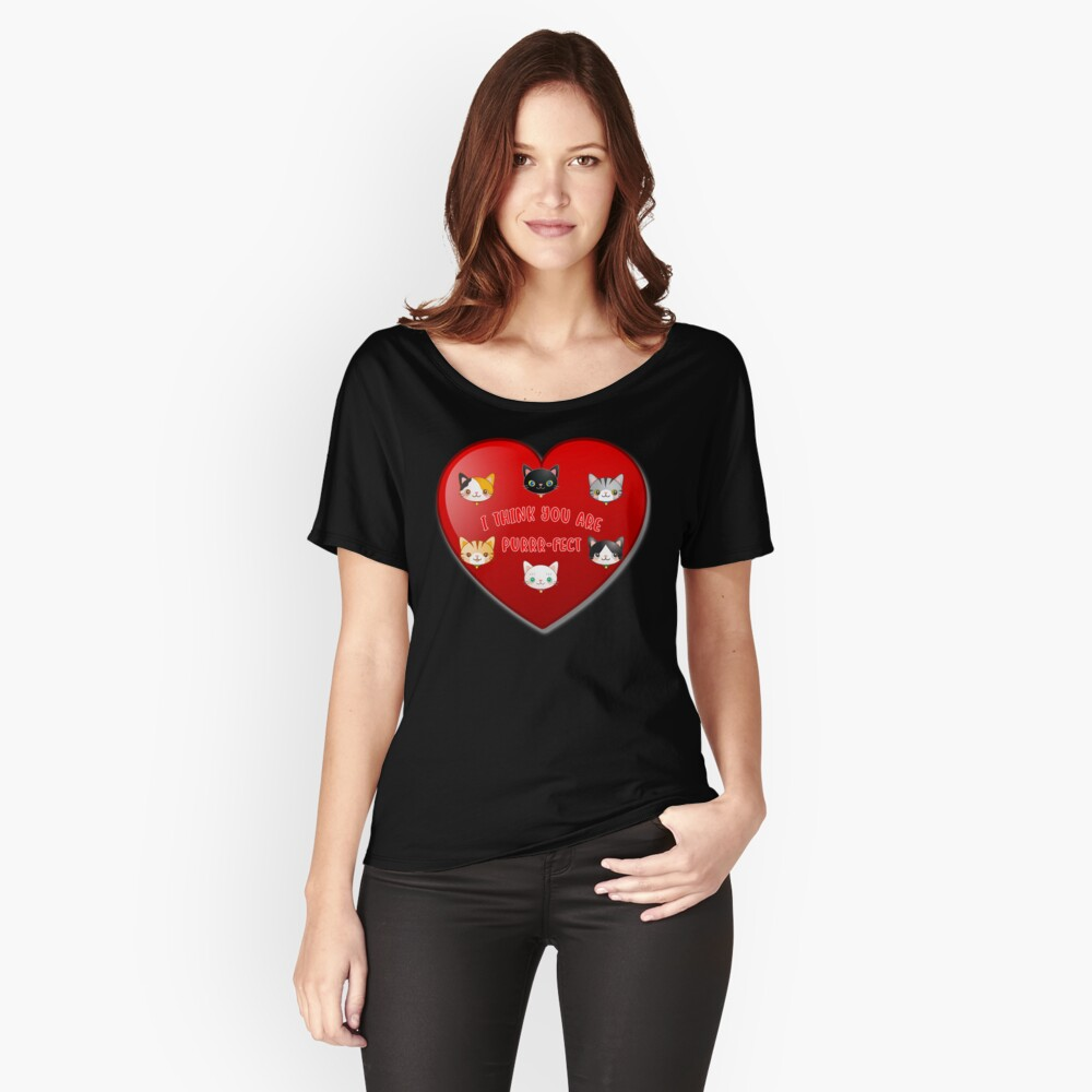 Kitty Cat Valentines Day Cute Kitten Lover Gift. Relaxed Fit T-Shirt