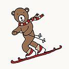 Skiing Bear -  A happy chap by Cecca Designs by Cecca-Designs