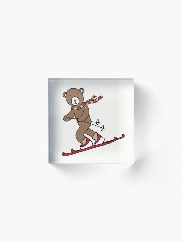 Alternate view of Skiing Bear -  A happy chap by Cecca Designs Acrylic Block