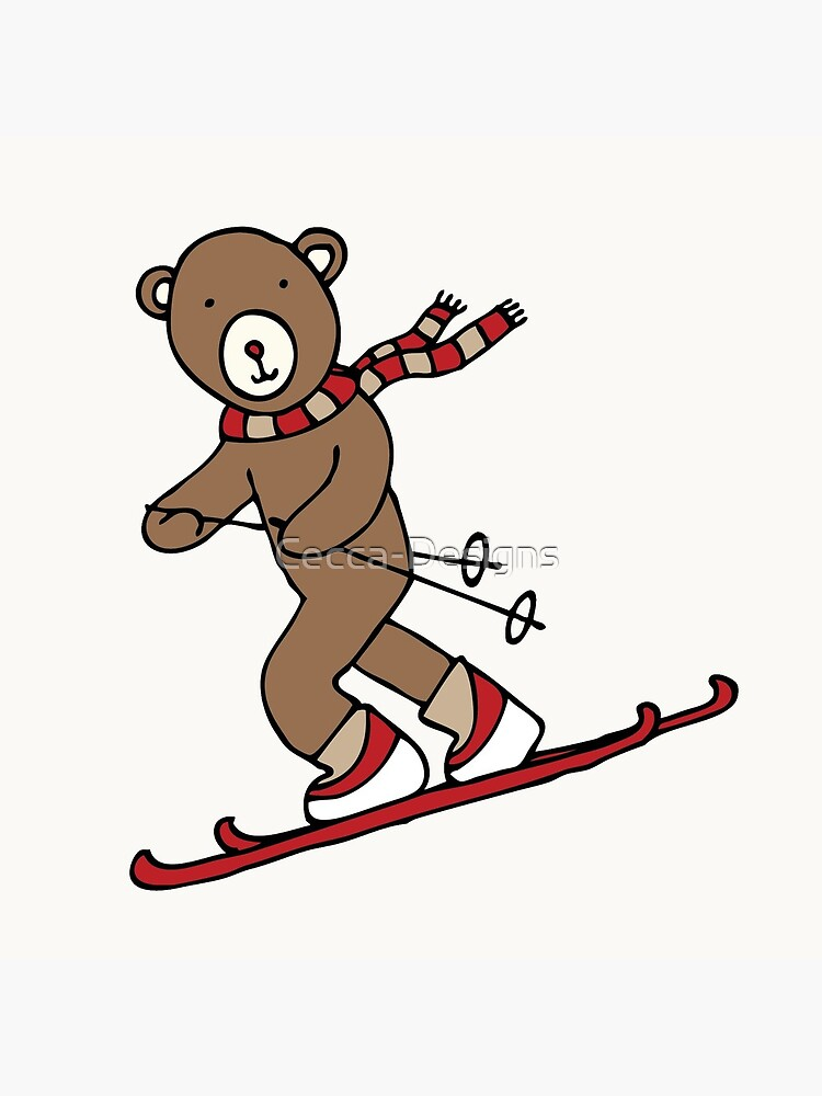 Skiing Bear -  A happy chap by Cecca Designs by Cecca-Designs