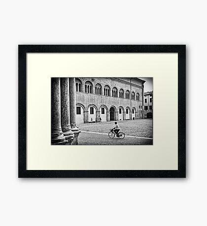 Three walking :: One biking Framed Print
