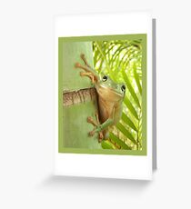 Frog Happy - Entices you to return his warm smile Greeting Card