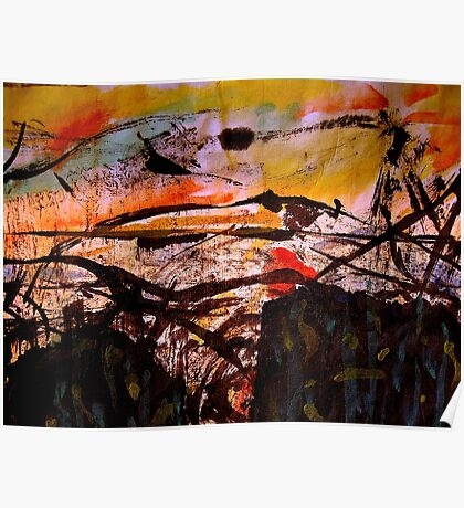 two forests... under a sunset sky Poster