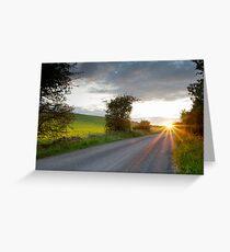 Sunset, Field Asserts, Oxfordshire, UK Greeting Card