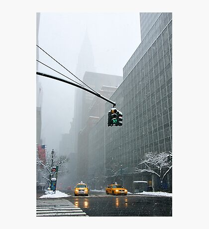 New York 42nd Street - Traffic light Photographic Print