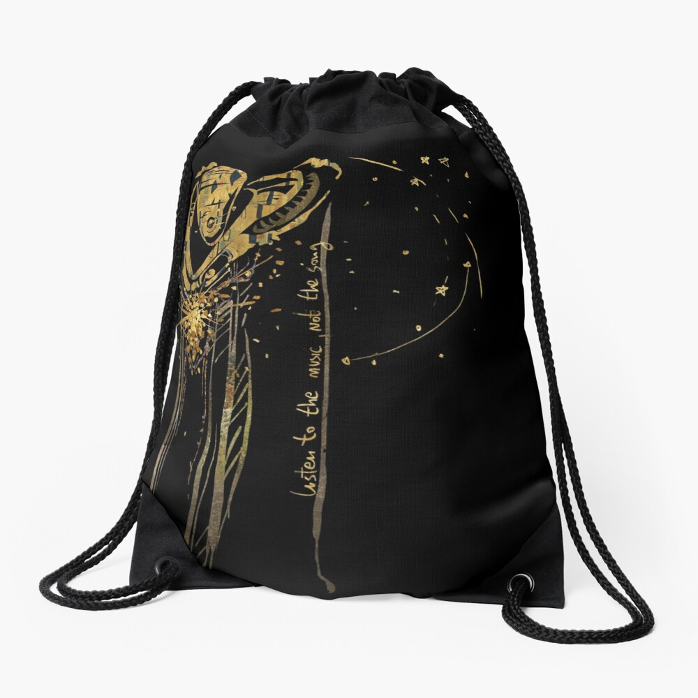 listen to the music, not the song Drawstring Bag