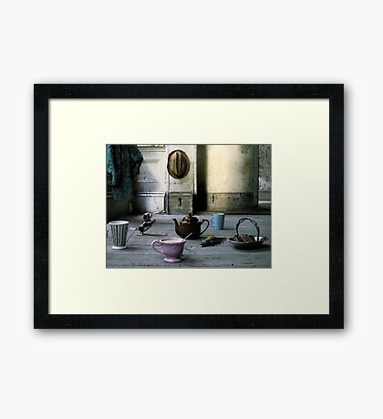 The Dog and the Crocodile came to Tea Framed Print