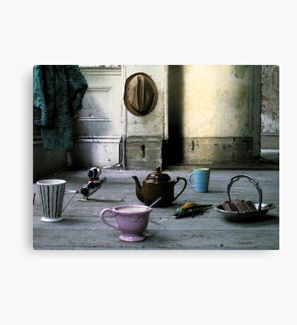 The Dog and the Crocodile came to Tea Canvas Print