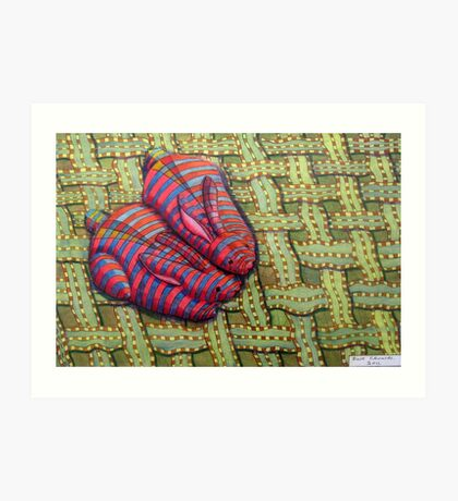 341 - CUDDLY BUNNIES - DAVE EDWARDS - COLOURED PENCILS & FINELINERS - 2011 Art Print