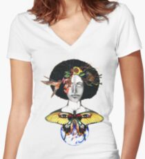 Mother Nature III Women's Fitted V-Neck T-Shirt