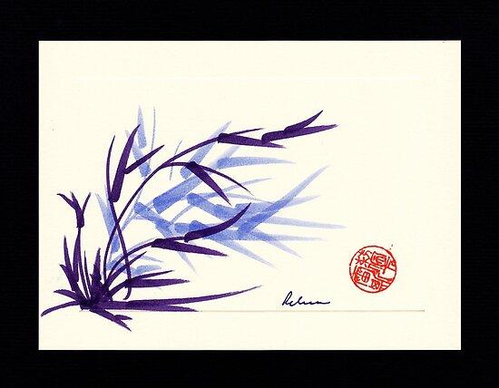 Huntington Gardens Plein Air Bamboo Drawing #2 by Rebecca Rees