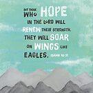 Jesaja 40 Vers 31. Aber diejenigen, die auf den Herrn hoffen, werden ihre Stärke erneuern, sie werden auf Flügeln wie Adler aufsteigen. Moderne Malerei von TheFinerThemes