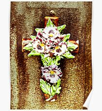 Ceramic Flower on Cross Poster