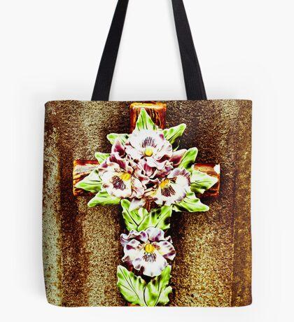 Ceramic Flower on Cross Tote Bag