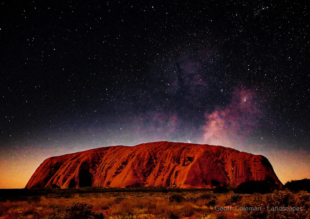 The Dreaming Rock - Night by Geoff  Coleman - Landscapes