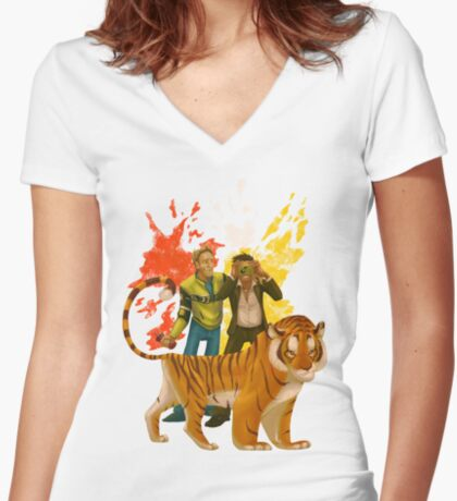 DR2 Co-op Nova & Sp00n Women's Fitted V-Neck T-Shirt