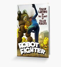 Robot Fighter Fake Pulp Cover 2 Greeting Card