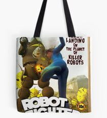 Robot Fighter Fake Pulp Cover 2 Tote Bag