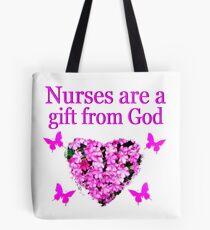 PRETTY PINK FLOWER NURSING DESIGN Tote Bag