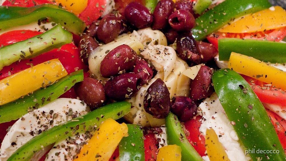 Mozzarella, Peppers, And Kalamata Antipasto by phil decocco