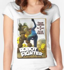 Robot Fighter Fake Pulp Cover 2 Women's Fitted Scoop T-Shirt