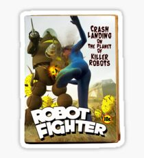Robot Fighter Fake Pulp Cover 2 Sticker