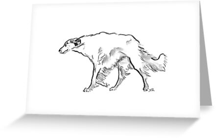 Borzoi Drawing by Douglas Rickard