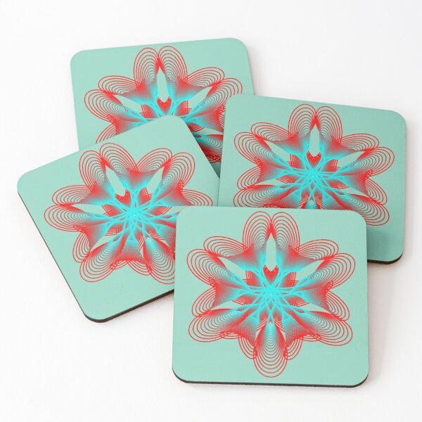 Spirograph with Red and Blue Coasters (Set of 4)