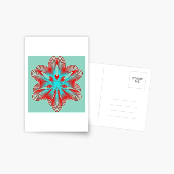 Spirograph with Red and Blue Postcard