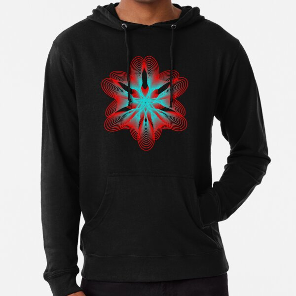 Spirograph with Red and Blue Lightweight Hoodie