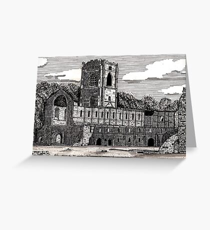 043 - FOUNTAINS ABBEY, YORKSHIRE - DAVE EDWARDS - INK - 1981 Greeting Card