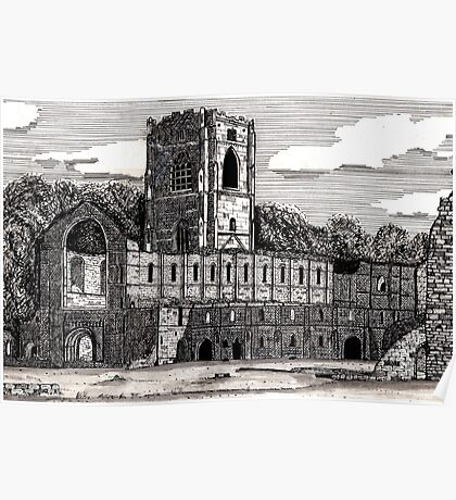 043 - FOUNTAINS ABBEY, YORKSHIRE - DAVE EDWARDS - INK - 1981 Poster