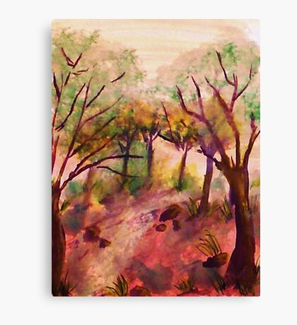 Path out of the forest, watercolor Canvas Print