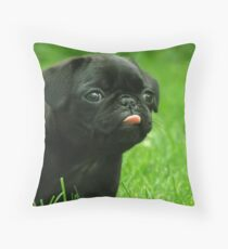 Black Pug Throw Pillow