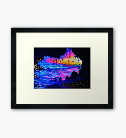 Misty cave Sunset Framed Print