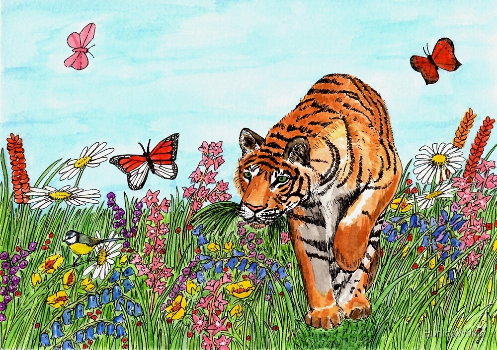 Tiger in a Perfect World - Bedding & Blankets by EuniceWilkie