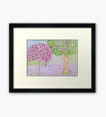 Red and Green Tree Framed Print