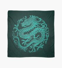 Traditional Teal Blue Chinese Dragon Circle Scarf
