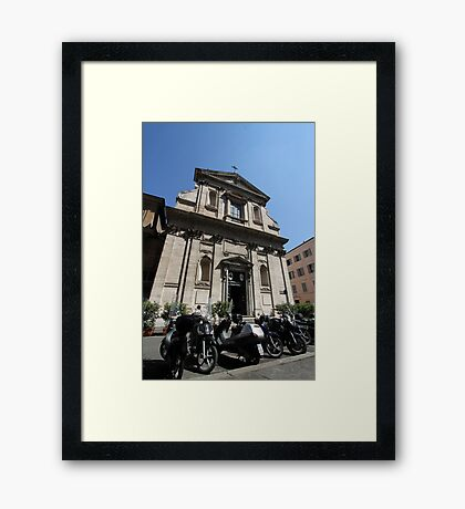 Church and Bikes Framed Print