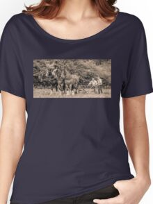 Horses Plowing - black and white Women's Relaxed Fit T-Shirt